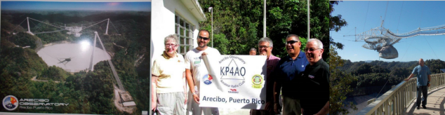 Arecibo Observatory Amateur Radio Club station KP4AO. Yaesu's EVP for North American Sales Dennis Motschenbacher, K7BV, presented a FT-DX 1200 transceiver for Arecibo Visitor Center station to promote amateur radio.