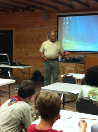 Don (KI4D) teaching Radio Merit Badge at BSA Camp Powhatan