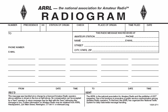 ARRL Radiogram Sample