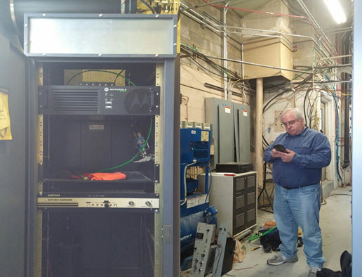 Above on the left is the new DMR repeater in it's new home. On the right is our Trustee Rich KA4GFY checking out the new installation.
